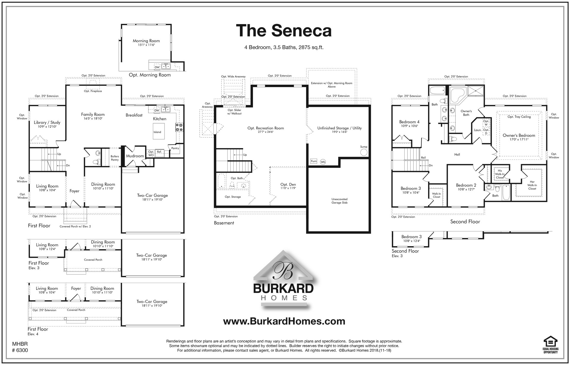 Burkard Homes Seneca I two story single family home floor plan.